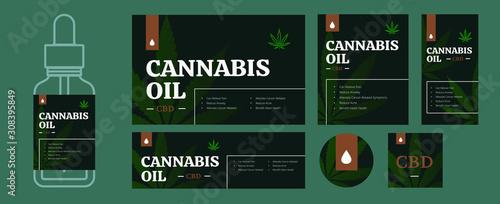 CBD oil packaging design template bundle Wallpaper Mural