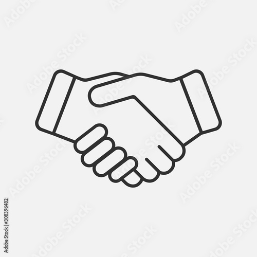Fototapeta Handshake icon isolated on white background. Vector illustration. obraz