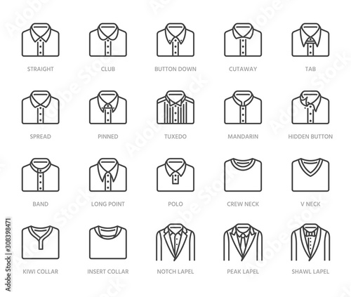 Foto Shirt collars, jacket types flat line icons set