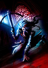 A Bounty Hunter In Blood, With Long Hair, Moustache And A Crossbow In His Hand, Loaded With Two Arrows, Against The Background Of The Cathedral Illuminated By The Moon . 2D Illustration.