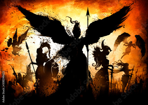 Photo An army of great knights, with different weapons, from different eras and cultures led by an angel, with a shield and a spear, against a bright orange sunset