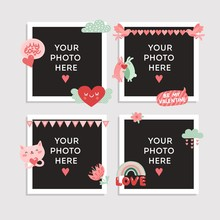 Love Photo Frame. Valentines Day Design For Photo With Heart, Cute Bird And Happy Rabbits, Cat And Romantic Lettering, Flowers Vector Set. Illustration Photography Album, Frame Valentine Love