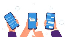 People Chat. Hands Hold Smartphones, Digital Addiction. Business Time Management App, Send Mobile Email And Chatting Vector Illustration. Mobile Phone Chat, Smartphone Screen Communication