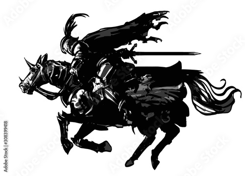 Fotografía The silhouette of a knight rushing with great speed on horseback with a sword, in armor, a ragged cloak, and a helmet with a feather