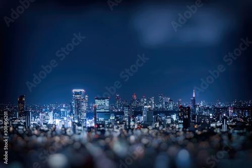 Obraz na płótnie ぼかして撮影した東京新宿の夜景
