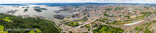 Photo Oslo, Norway. Large aerial panorama of the city
