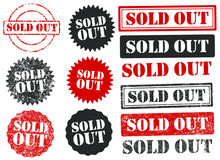 Sold Out Grunge Rubber Ink Stamp Icon Shape. Web Shop, Store Info Logo Sign Symbol. Red Retro Style Tag Template Graphic. Isolated  On White Background. Vector Illustration Image.