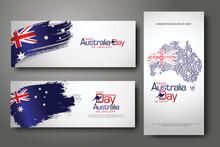 Happy Australia Day Celebration Vertical And Horizontal Banner Background Set.