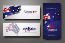 Happy Australia Day Celebration Vertical And Horizontal Banner Background Set.