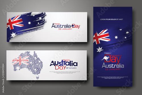 Fotomural Happy Australia Day Celebration vertical and horizontal banner Background set