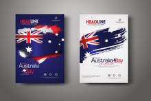 Happy Australia Day Celebration Poster Background Set.