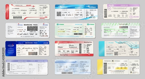 Airways tickets and boarding passes mockups Fotobehang