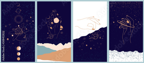 Fotografia Collection of space and mysterious illustrations for Mobile App, Landing page, Web design in hand drawn style