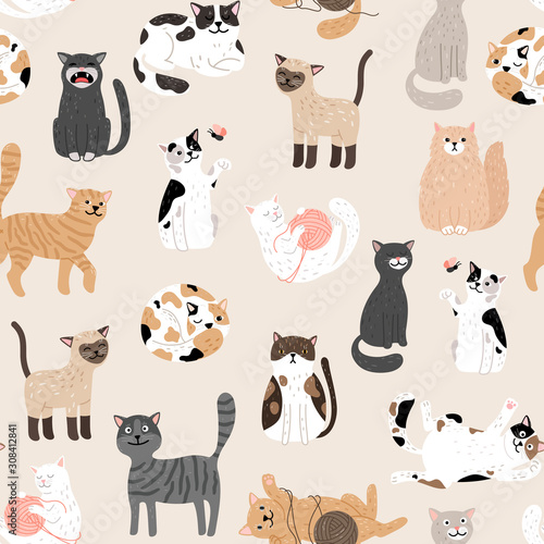 obraz dibond Kitty seamless pattern. Color cute cats vector background, colorful kittens texture for animals baby fabric design