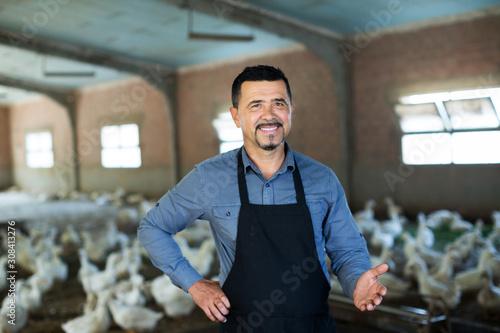 Stampa su Tela Man standing among white gooses