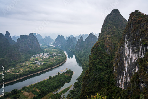 Karts hill Mountains view, on a cloudy misty morning in South China Canvas Print