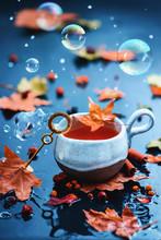 Soap Bubbles In An Autumn Stil...