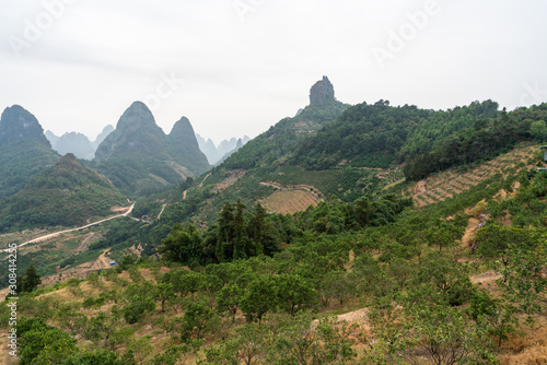 Karts hill Mountains view, on a cloudy misty morning in South China Wallpaper Mural