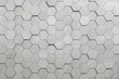 Geometric hexagons. Abstract silver metal background.