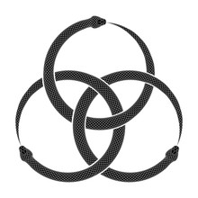 Three Intertwined Snakes Bite Their Own Tails. Ouroboros Symbol Tattoo Design. Vector Illustration Isolated On A White Background.