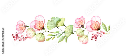 Photo Watercolor floral border of roses, leaves and eucalyptus branch
