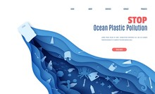 Web Page Stop Ocean Plastic Pollution Banner Design Template In Paper Cut Style. A Plastic Bag Floats In The Sea, Trash In The Water. Seabed Reef, Fish In Waves. Vector World Water Day Website Concept
