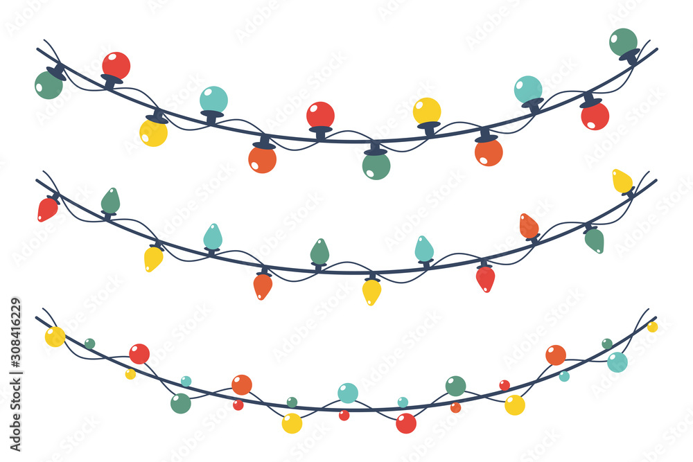 Fototapeta Christmas light garland vector cartoon set isolated on a white background.