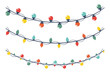 Christmas light garland vector cartoon set isolated on a white background.