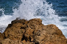 Waves Crashing On Rocks Seasid...