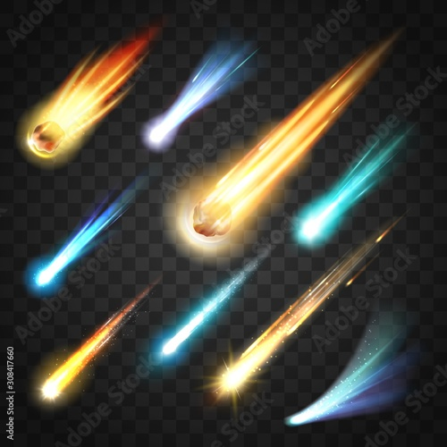Obraz Meteors rain with comets and space bodies on transparent. Vector neon glowing fast moving particles, shooting stars and meteor shower. Falling asteroids in galaxy, cosmos universe, outer space - fototapety do salonu