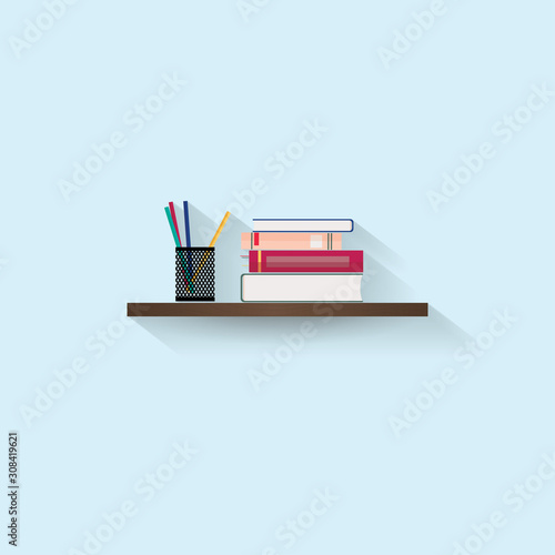 Fotografie, Obraz  Stack of books and stationery on wood shelf