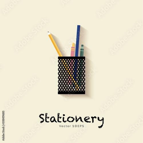 Obraz na plátně  Stationery in pen holder