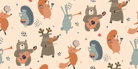 Vector seamless pattern with hand drawn wild forest animals with musical inst...
