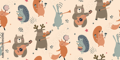 mata magnetyczna Vector seamless pattern with hand drawn wild forest animals with musical instruments.