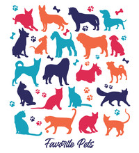 Set Of Nicecolors Cats And Dogs Background Illustration. Animal Collection.