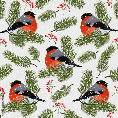 Canvastavla Seamless pattern with bullfinches, rowan berries and fir branches