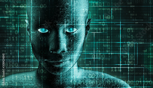 Futuristic and sci-fi human android portrait with pcb metallic skin and binary code green background Canvas Print