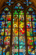 Prague, Prague / Czech Republic: Stained Glass Window By Alfons Mucha, Located Inside The Cathedral Of St Vitus.