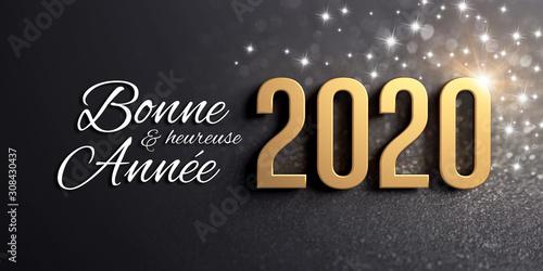 Photo 2020 Carte de voeux noire et or