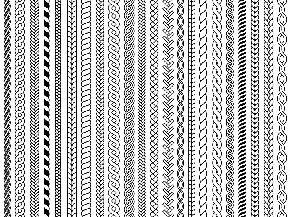 Fototapeta Plaits pattern. Ornamental braids knitting cable fashion textile structures graphic vector seamless illustrations. Pattern cable and knitwear, plait and braid
