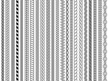 Plaits Pattern. Ornamental Braids Knitting Cable Fashion Textile Structures Graphic Vector Seamless Illustrations. Pattern Cable And Knitwear, Plait And Braid