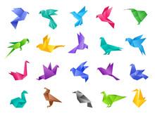 Origami Birds. Stylized Polygo...