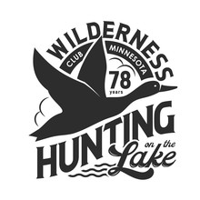 Duck Hunting Club Isolated Monochrome T-shirt Print Design. Vector Hunt On Birds At Lake, Flying Feathered Animal In Sky Black Silhouette. Wilderness, Wildlife Poultry Trophy, Hunting Hobby
