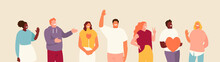 Vector Group Of Hospitable And Friendly People. Positive Emotions Illustration