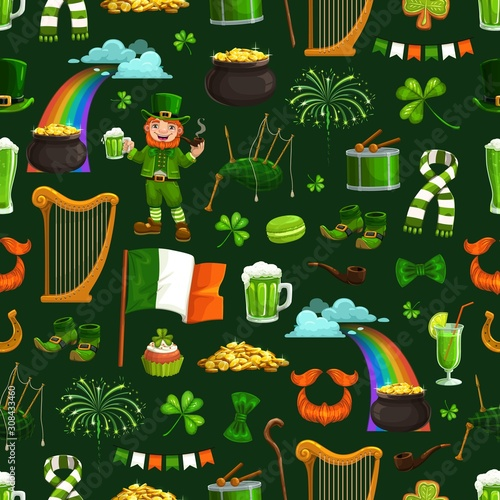 Saint Patricks day seamless pattern, religious holiday and national symbols Canvas Print