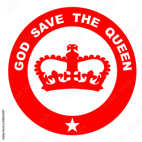 Photo God Save The Queen Red Rubber Ink Stamp