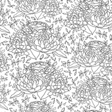 Black White Flower Seamless Pattern For Fabric Design
