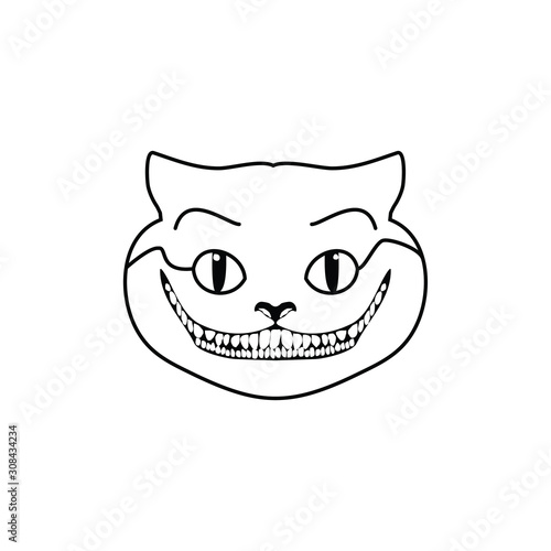 Canvastavla cheshire logo vector smiling cat evil