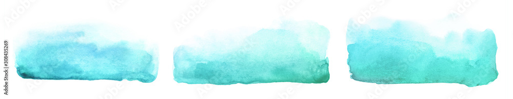 Fototapeta Collection of abstract watercolor blue green brush strokes.