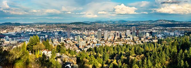 Panorama of Portland downtown in Oregon